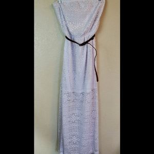 No Boundaries Strapless White Lace Maxi Dress